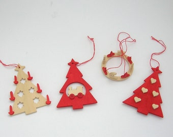 Sale Vintage Ornaments Scandinavian Style Red Wood Trees Train