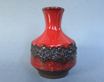 Studio Fat Lava Keramik glossy red  vase WGP.- 1970s -  West Germany Pottery. WGP.