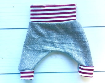 Modern Baby Harem Pants, Baby lounge pants, baby MC hammer pants, baby comfy pants, soft gray fabric with white and maroon cuffs and band