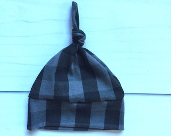 Modern Baby Knot Hat, Newborn hat, retro charcoal plaid fabric, going home outfit