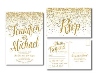 Gold Wedding Invitation - Gold Sparkles - Printable Wedding Invitation - Rsvp Postcard - Wedding Rsvp - RSVP Card - Printable File #CL116
