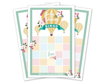 BINGO - Hot Air Balloon Baby Shower - Instant Download -  DIY Printable - hot air ballon and flowers