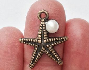 5 Starfish charms - 22 x 19mm - BC108