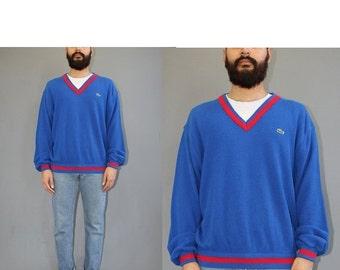 ON SALE Vintage Izod Lacoste Vneck Sweater - Alligator Sweater - 70s Lacoste Sweater - Lacoste USA - 70s Sweater - Xl