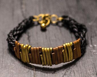 Handmade Brass/Copper, Wax cord, Bracelet