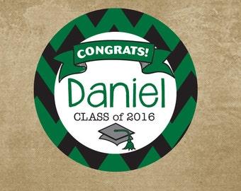Class of 2016 Graduation Stickers, Gradutation Party Favor Labels, Personalized, Motorboard Stickers, College Grad, Boys Graduation