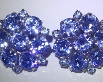 Vintage Weiss Blue Crystal Clip Earrings