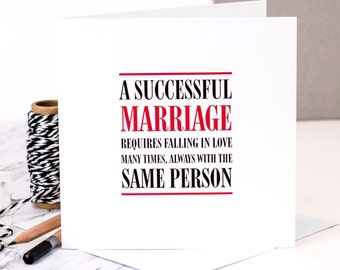 Wedding Card; 'A Successful Marriage'; Wedding Anniversary Card; GC310