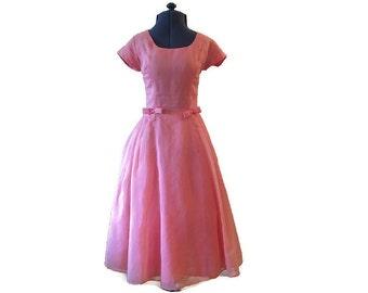 "1950's Dress // Pink Organza Vintage Dress // Full Skirt Pleated // Bow Back // Waist 13.5"""