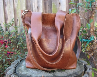 BROWN Leather shoulder bag AND a cross body handbag, leather tote, Valentine's