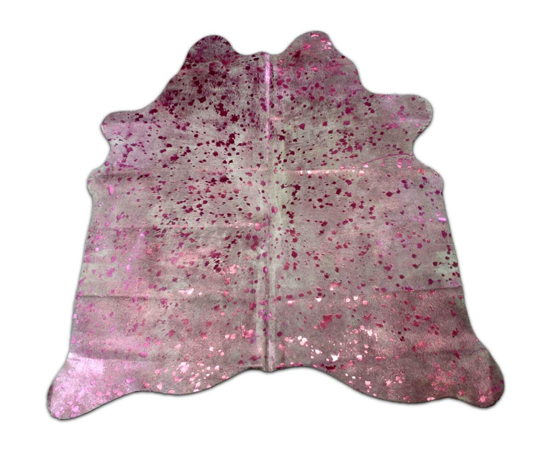 Pink Acid Washed Metallic Cowhide Rug Average Size 5 X 5