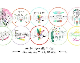 Digital collage sheet feather arrow catchdream tribal, word, sentence, Digital images, One inch circle, bottle cap,instant download