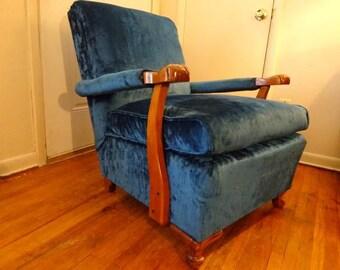 1930u0027s deco period blue velvet chair wottoman