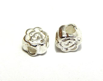 5 pc. Solid Sterling Silver Roses, Sterling Silver Flower Beads 4 mm