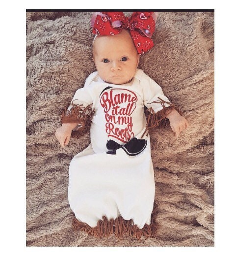 Western infant gown baby girl gown cowgirl baby layette
