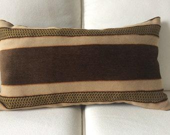 Black and brown brushed velvet corded design rectangular