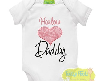 Father's Day Gift - Personalised Pink Lace Heart Onesie / Tee / Bodysuit - First Father's Day / Daddy / 1st Father's Day Gift