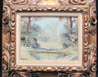 Ernest Neuhold Vintage Oil Painting on Board of Pond Scene Signed on right