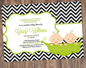 Twins peas in a pod Invitation, Twins Baby Shower Invitation, Twins Invitation,  Twins Shower Invitation, Baby Shower for Twins
