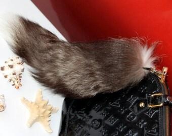 Silver Fox Tail Keychain Fox tail keyring Real Fur Bag Charm Gift idea Ready to Ship!