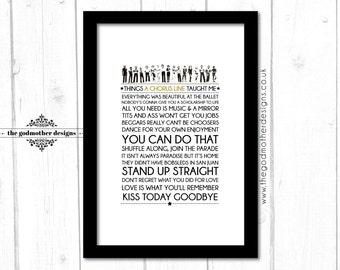 A Chorus Line - Broadway Musical - Quotes & Lyrics Typography - PRINT