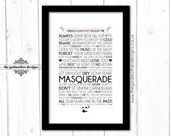 The Phantom Of The Opera - Broadway Musical - Quotes &  Lyrics - Typography - PRINT