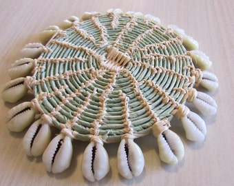 South Pacific Marshall Islands Woven Basket with Cowry Shells