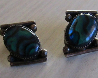 Sterling Silver and Paua Shell Clip on Earrings