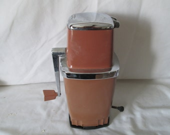 Vintage Ice Crusher Brown 1960's Swingline Chrome Metal Plastic with Locking counter suction