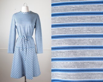 Striped Day Dress, 60s Dress, Blue Dress, Black Dress, Striped Dress, Mod Dress, Retro Dress, Knit Dress, Mid Century Modern, 60s Clothing