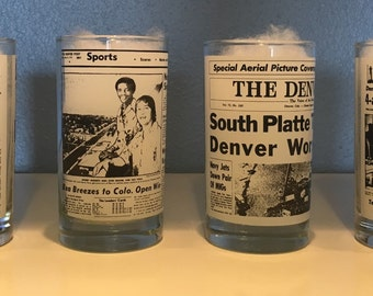 Vintage Rocky Mountain Post Newspaper Tumbler Glasses (SET OF 4)