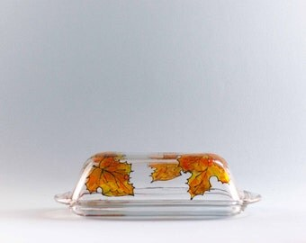Maple Leaf Butter Dish - Hand Painted - Dishwasher Safe
