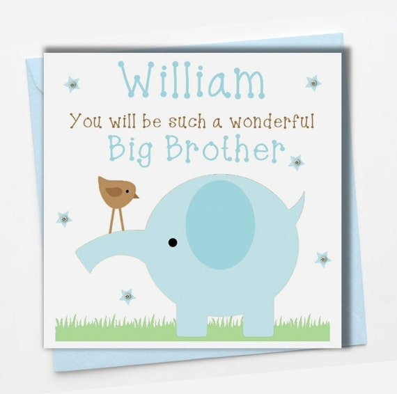 Personalised New Baby Big Brother Card Boy Blue Unique