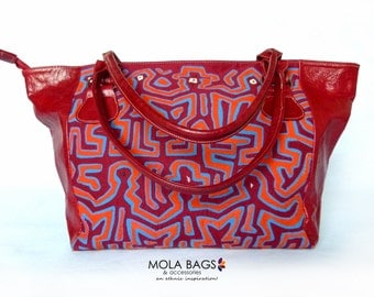 Large shoulder bag made of leather with Mola