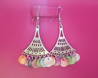 ethnic earrings with mother of Pearl multicolour