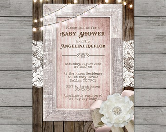 Girl Baby Shower Invitation Rustic Wood Pink String Lights Vintage Shabby Printable Customizable Digital File with diaper raffle ticket