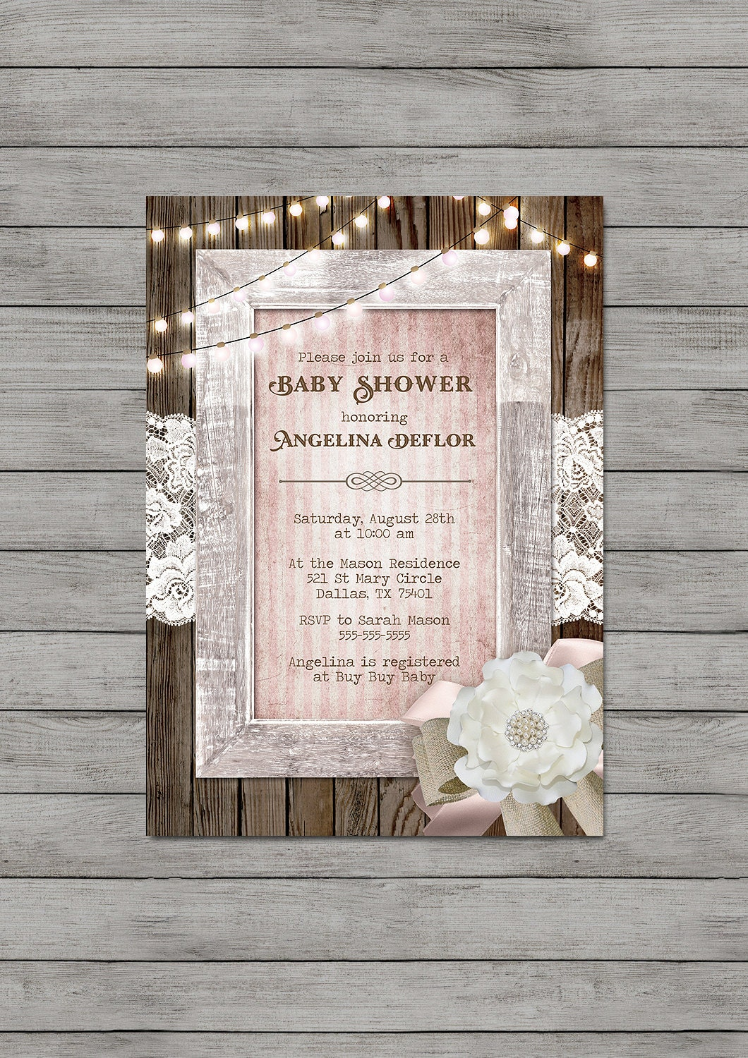 girl baby shower invitation rustic wood pink string lights