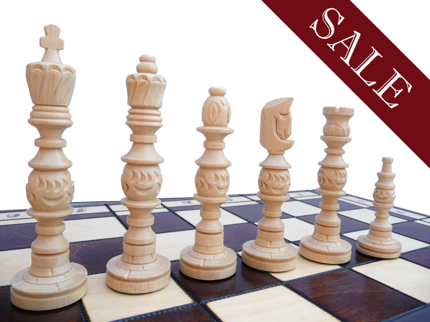 Unique Wooden Chess Set Large 58x58cm By Stylishchess On Etsy