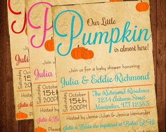 Adorable Fall Pumpkin Baby Shower (Printable) Invitation (Other Colors Available!)