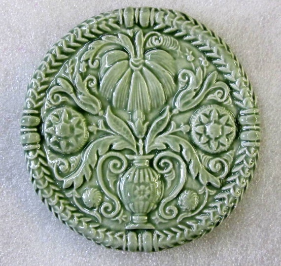 Ceramic ButterMold Art Tile -- Decorative tile glazed in Green Tea, kitchen decor, accent tile