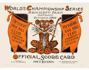 1909 WORLD SERIES Detroit Tigers vs Pittsburgh Pirates Poster - FREE Shipping