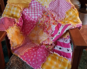 39X39 inch upcycled pink cotton rag quilt