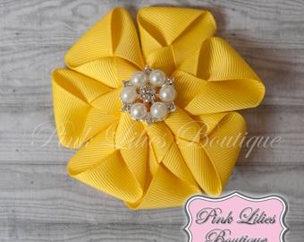 Yellow Hair Bow - Yellow Envelope Flower Hair Bow - Flower Hair Bow - Yellow Flower Bow - Yellow Flower Hair Clip (Item #10282)