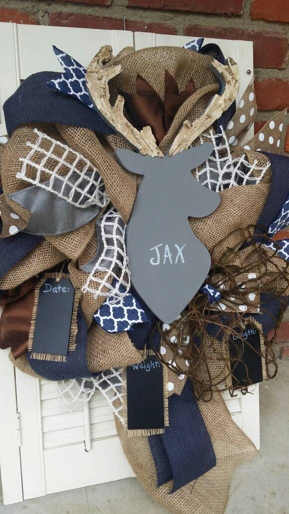Deer Nursery Decor Navy Gray Deer Wreath Rustic Nursery