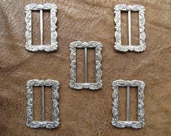 Wholesale Job Lot silver embossed buckle / slide  5cm x 3.8cm **10 pieces**
