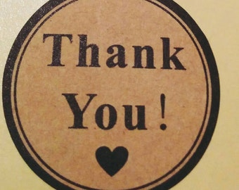 Thank You Labels, Stickers, Kraft Favour Thank you Stickers, Wedding Favours, Envelope Seals