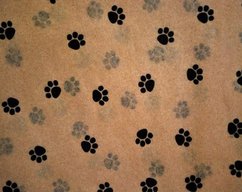 "Small Paw Print on Kraft Tan Tissue Paper #335 / Gift Wrap - Dog / Cat / Pet  ... 10 large sheets - - 20"" x 30"""