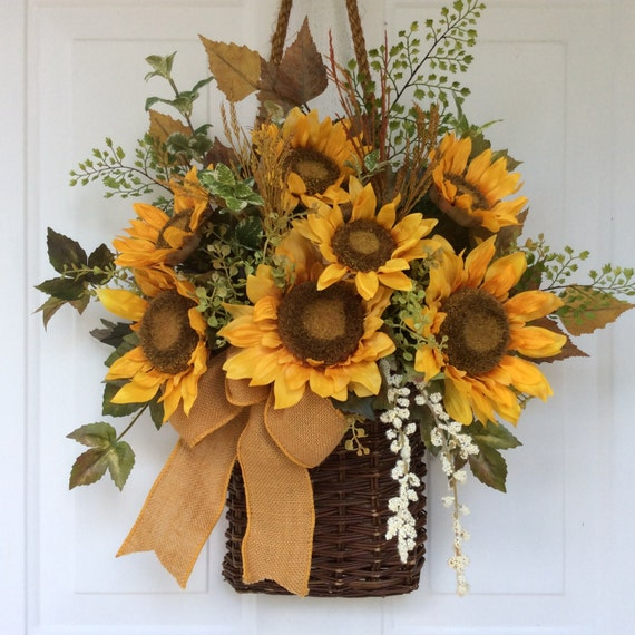 Front Door Baskets: Fall Wreath For Front Door-Sunflower Basket-Sunflower