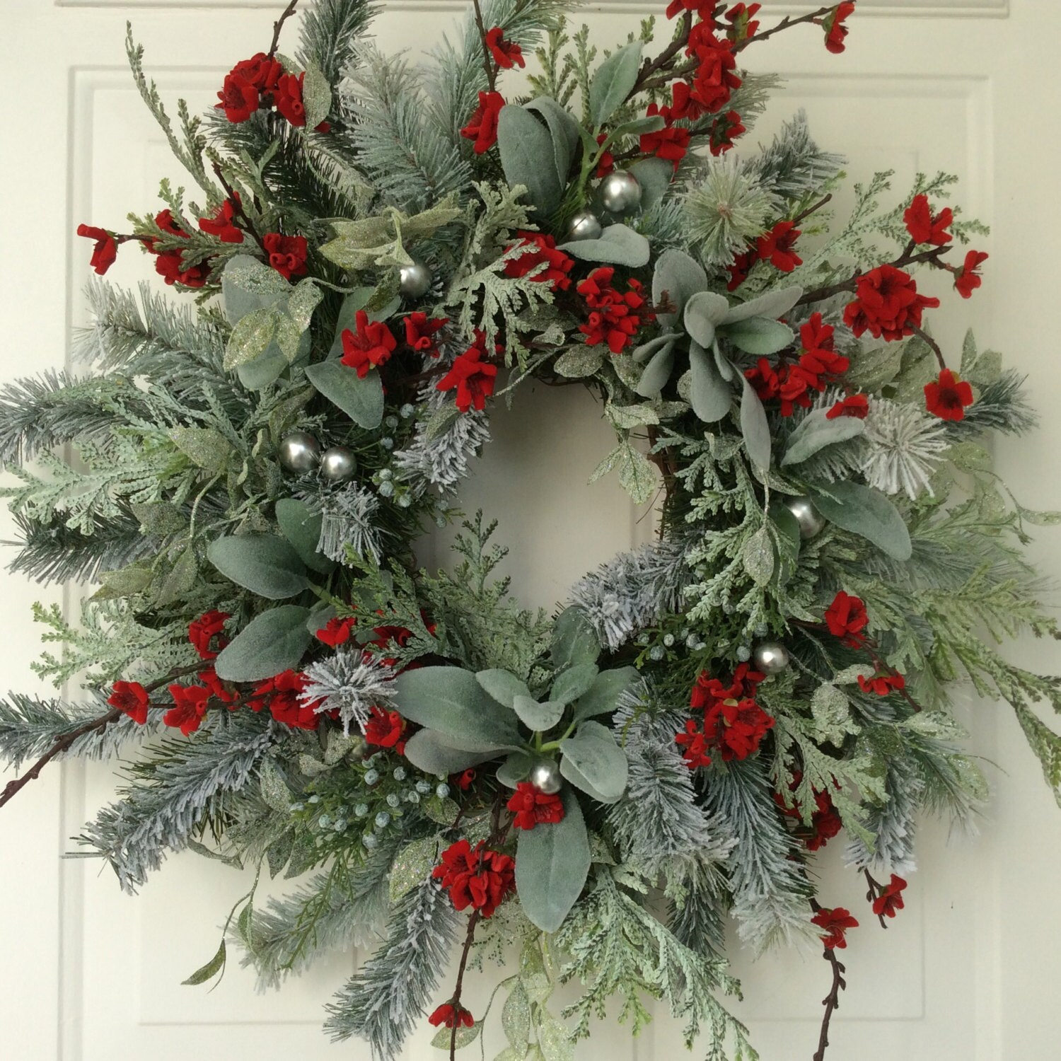 Christmas wreath winter wreath holiday wreath elegant holiday for How to make christmas door wreaths