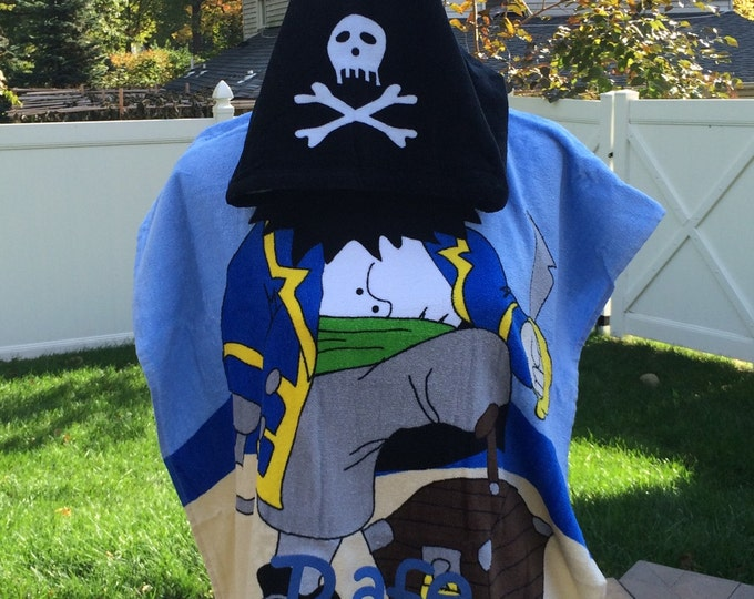 Pirate Hooded Cotton Beach Towel Poncho Personalized